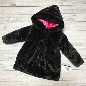 NWT BCX girl black faux fur pink reversible coat 4